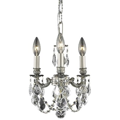 Downes 3-Light Candle-Style Chandelier Crystal Color / Crystal Trim: Crystal (Clear) / Elegant Cut