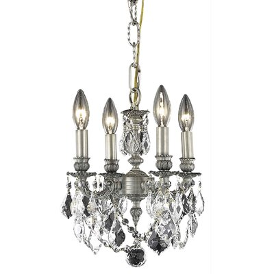 Downes 4-Light Candle-Style Chandelier Crystal Color / Crystal Trim: Crystal (Clear) / Elegant Cut