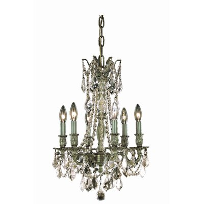 Utica 6-Light Crystal Chandelier Crystal Grade: Royal Cut, Finish: Dark Bronze