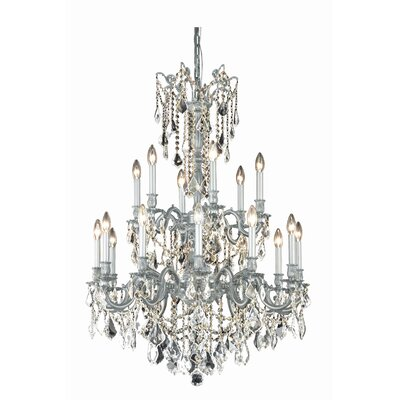 Utica 18-Light Crystal Chandelier Crystal Grade: Spectra Swarovski, Finish: Pewter