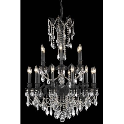 Utica 18-Light Crystal Chandelier Color: Dark Bronze, Crystal Grade: Elegant Cut