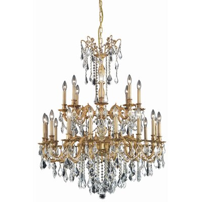 Utica 24-Light Crystal Chandelier Crystal Grade: Swarovski Element, Finish: French Gold