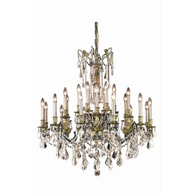 Utica 24-Light Crystal Chandelier Crystal Grade: Royal Cut, Finish: Pewter
