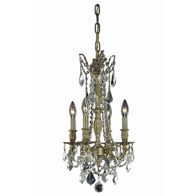 Utica 4-Light Crystal Chandelier Color: French Gold, Size: 22 H x 13 W x 13 D, Crystal Grade: Elegant Cut