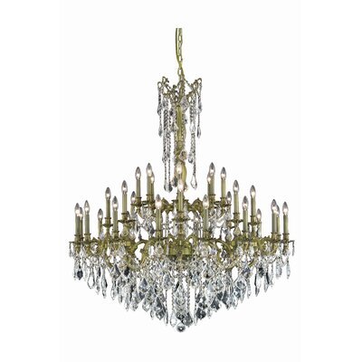 Utica 32-Light Crystal Chandelier Color: Dark Bronze, Crystal Grade: Royal Cut