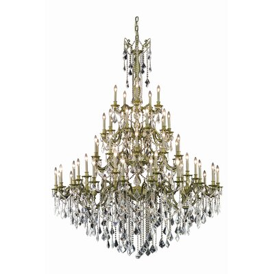 Utica 55-Light Crystal Chandelier Crystal Grade: Swarovski Element, Finish: French Gold