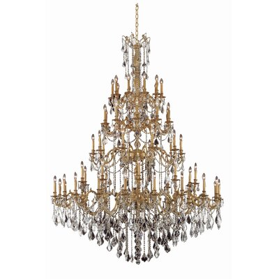 Utica 60-Light Crystal Chandelier Crystal Grade: Elegant Cut, Finish: Pewter