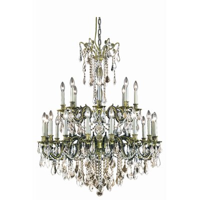 Utica 24-Light Crystal Chandelier Finish: Dark Bronze, Crystal Grade: Royal Cut