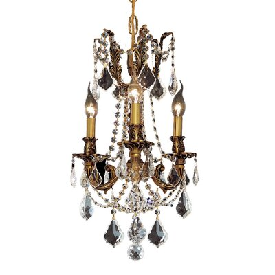 Utica 3-Light Crystal Chandelier Color / Crystal Color / Crystal Trim: French Gold / Crystal (Clear) / Strass Swarovski