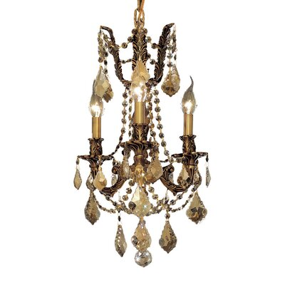 Utica 3-Light Crystal Chandelier Finish / Crystal Color / Crystal Trim: French Gold / Crystal (Clear) / Elegant Cut