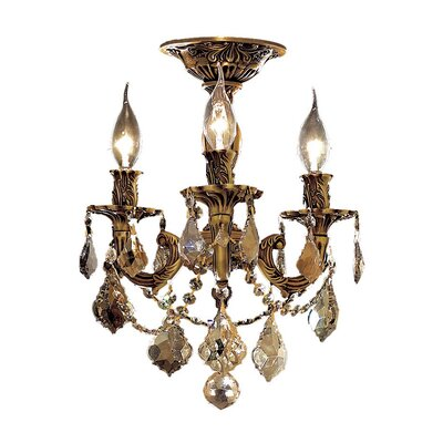 Utica 3-Light Crystal Chandelier Finish / Crystal Color / Crystal Trim: French Gold / Smoky / Strass Swarovski