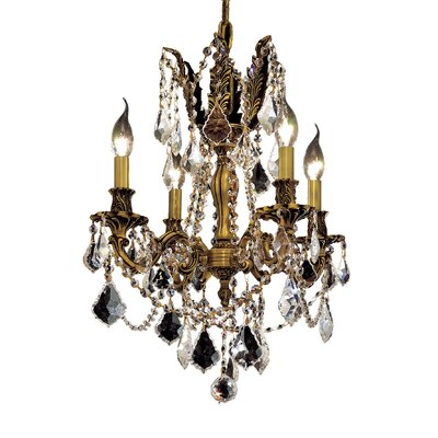 Utica 4-Light Crystal Chandelier Color / Crystal Color / Crystal Trim: French Gold / Crystal (Clear) / Strass Swarovski