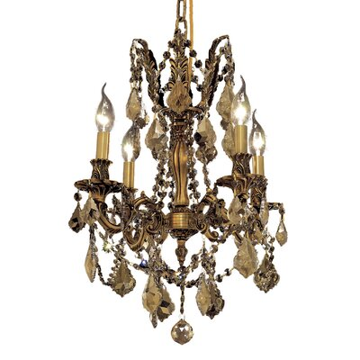 Utica 4-Light Crystal Chandelier Color / Crystal Color / Crystal Trim: French Gold / Golden Teak (Smoky) / Royal Cut