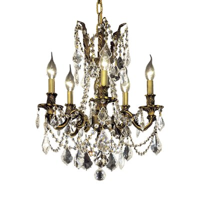 Utica 5-Light Crystal Chandelier Finish / Crystal Color / Crystal Trim: French Gold / Smoky / Strass Swarovski