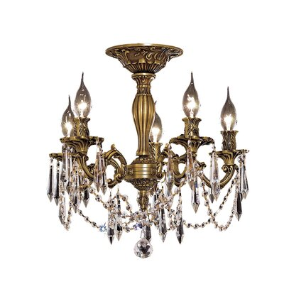 Utica 17 5-Light Crystal Chandelier Color / Crystal Color / Crystal Trim: French Gold / Crystal (Clear) / Strass Swarovski