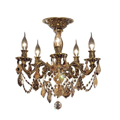 Utica 17 5-Light Crystal Chandelier Finish / Crystal Color / Crystal Trim: French Gold / Golden Teak (Smoky) / Royal Cut