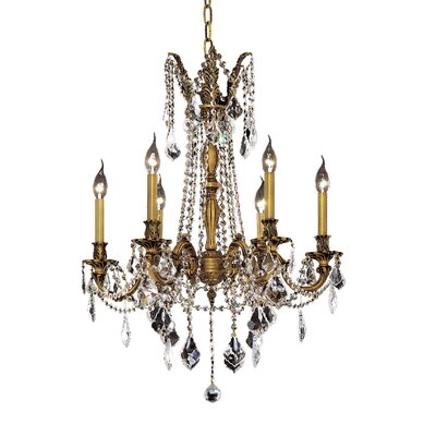 Utica 6-Light Crystal Chandelier Color / Crystal Color / Crystal Trim: Antique Bronze / Golden Teak (Smoky) / Royal Cut