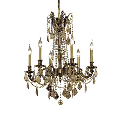Utica 6-Light Crystal Chandelier Finish / Crystal Color / Crystal Trim: Antique Bronze / Golden Teak (Smoky) / Royal Cut
