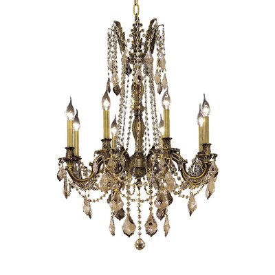 Utica 8-Light Crystal Chandelier Finish / Crystal Color / Crystal Trim: Antique Bronze / Crystal (Clear) / Royal Cut