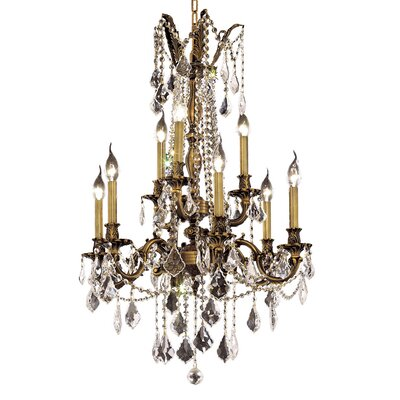 Utica 9-Light Crystal Chandelier Finish / Crystal Color / Crystal Trim: Antique Bronze / Clear / Strass Swarovski