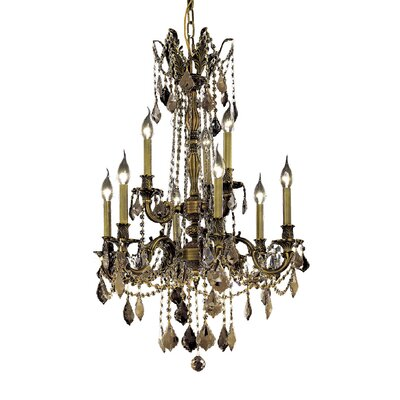 Utica 9-Light Crystal Chandelier Finish / Crystal Color / Crystal Trim: Antique Bronze / Golden Teak (Smoky) / Royal Cut