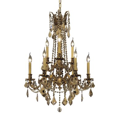 Utica 9-Light Crystal Chandelier Finish / Crystal Color / Crystal Trim: Antique Bronze / Crystal (Clear) / Elegant Cut