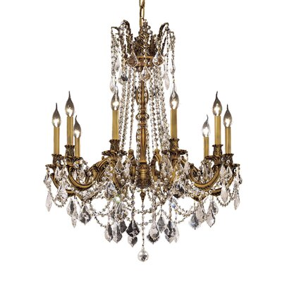 Utica 10-Light Crystal Chandelier Color / Crystal Color / Crystal Trim: French Gold / Crystal (Clear) / Strass Swarovski