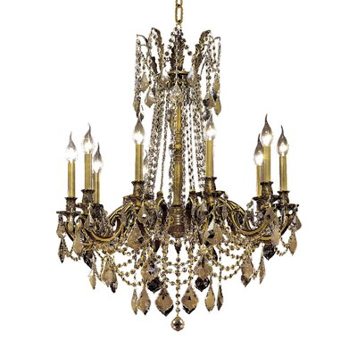 Utica 10-Light Crystal Chandelier Color / Crystal Color / Crystal Trim: Antique Bronze / Smoky / Strass Swarovski