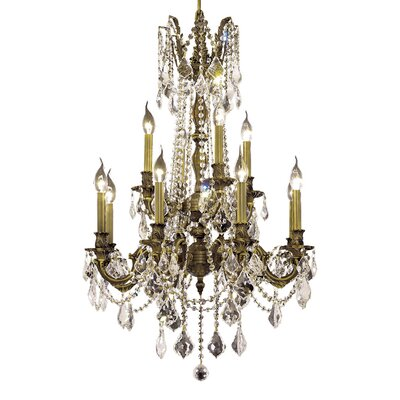 Utica 12-Light Crystal Chandelier Color / Crystal Color / Crystal Trim: Antique Bronze / Clear / Strass Swarovski