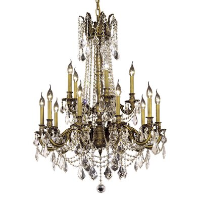 Utica 15-Light Crystal Chandelier Finish / Crystal Color / Crystal Trim: Antique Bronze / Crystal (Clear) / Elegant Cut