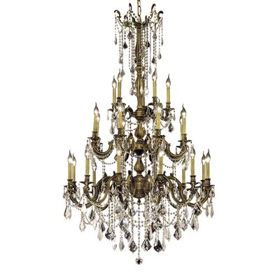 Utica 25-Light Crystal Chandelier Finish / Crystal Color / Crystal Trim: Antique Bronze / Crystal (Clear) / Elegant Cut