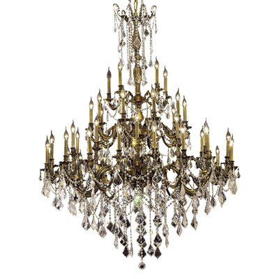 Utica 45-Light Crystal Chandelier Finish / Crystal Color / Crystal Trim: French Gold / Smoky / Strass Swarovski