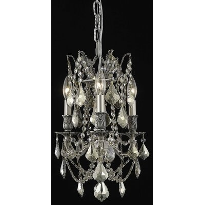 Utica 3-Light Candle-Style Chandelier Crystal Color / Crystal Trim: Crystal (Clear) / Elegant Cut