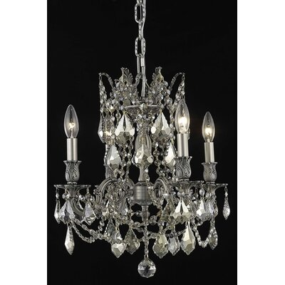Utica 4-Light Candle-Style Chandelier Crystal Color / Crystal Trim: Crystal (Clear) / Elegant Cut