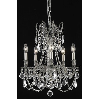 Utica 5-Light Candle-Style Chandelier Crystal Color / Crystal Trim: Crystal (Clear) / Elegant Cut