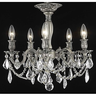 Utica 5-Light Candle-Style Chandelier Crystal Color / Crystal Grade: Golden Teak (Smoky) / Royal Cut