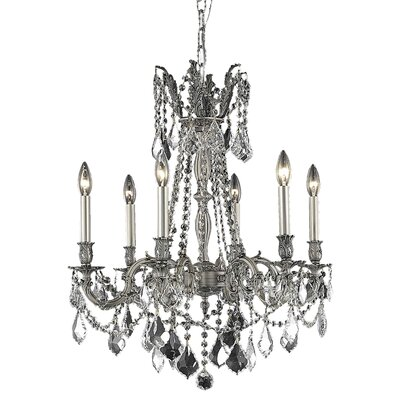 Utica 6-Light Candle-Style Chandelier Finish / Crystal Color / Crystal Trim: Pewter / Golden Teak (Smoky) / Royal Cut