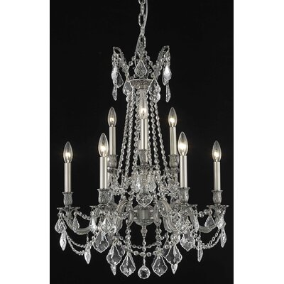 Utica 9-Light Candle-Style Chandelier Crystal Color / Crystal Trim: Crystal (Clear) / Elegant Cut