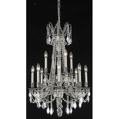 Utica 12-Light Candle-Style Chandelier Crystal Color / Crystal Trim: Crystal (Clear) / Strass Swarovski