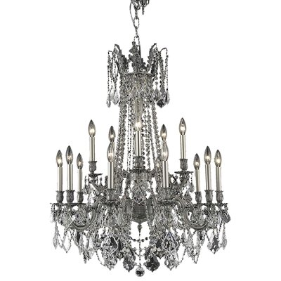 Utica 15-Light Candle-Style Chandelier Crystal Color / Crystal Trim: Crystal (Clear) / Elegant Cut