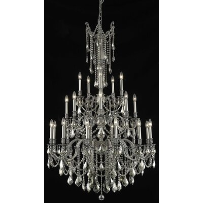 Utica 25-Light Candle-Style Chandelier Crystal Color / Crystal Trim: Crystal (Clear) / Strass Swarovski