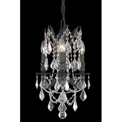 Utica 3-Light Crystal Chandelier Crystal Color / Crystal Trim: Crystal (Clear) / Elegant Cut