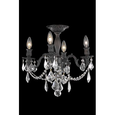 Utica 4-Light Semi Flush Mount Crystal Color / Crystal Grade: Golden Teak (Smoky) / Royal Cut