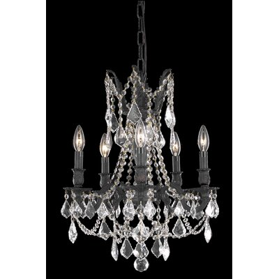 Utica 5-Light Crystal Chandelier Crystal Color / Crystal Trim: Golden Teak (Smoky) / Royal Cut