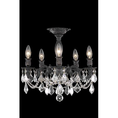 Utica 5-Light Semi Flush Mount Crystal Color / Crystal Grade: Crystal (Clear) / Elegant Cut
