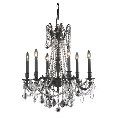 Utica 6-Light Crystal Chandelier Crystal Color / Crystal Trim: Golden Teak (Smoky) / Royal Cut