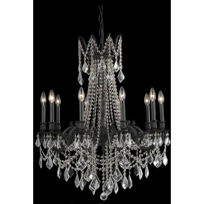 Utica 10-Light Crystal Chandelier Crystal Color / Crystal Trim: Crystal (Clear) / Elegant Cut