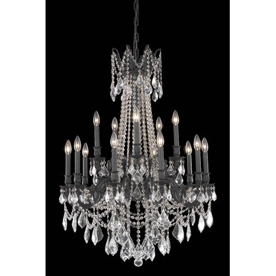 Utica 15-Light Crystal Chandelier Crystal Color / Crystal Trim: Crystal (Clear) / Elegant Cut