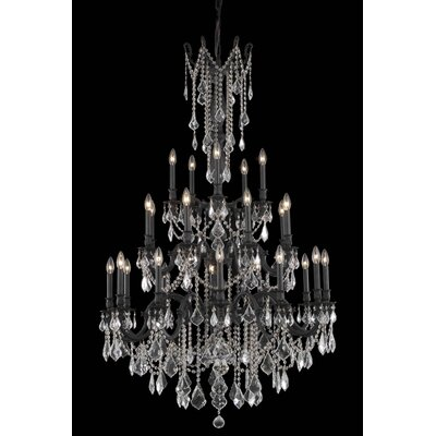 Utica 25-Light Crystal Chandelier Crystal Color / Crystal Trim: Crystal (Clear) / Elegant Cut