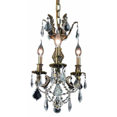 Canary 3-Light Crystal Chandelier Finish / Crystal Color / Crystal Trim: Antique Bronze / Crystal (Clear) / Royal Cut